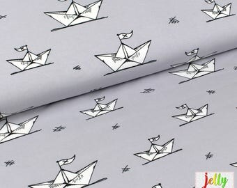 ORGANIC Jersey Fabric - Paper Boats in Light Grey by Bloome Copenhagen - UK Seller / GOTS certified