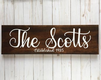 Family Name Sign, Last Name Sign, Established Sign, Personalized Gift, Wood Sign, Rustic Home Decor, Wedding Gift, Anniversary Gift