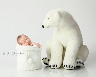 Digital backdrop, background newborn baby girl or boy   white  Christmas bear