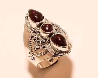 Natural Garnet Ring Garnet Cabochon Ring Sterling Silver Ring Red Garnet Pear,Round Ring Gemstone 925 Sterling Silver Garnet Ring Us 6 E-973