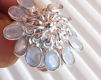 Natural Moonstone Ring Sterling Silver Ring 925 Solid Sterling Silver Ring Flashing Rainbow Ring White Rainbow Moonstone Ring Size 7.8 E1255