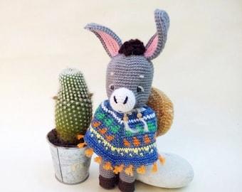 SALE! Crochet amigurumi toy Donkey Benito with a poncho and sombrero, crochet amigurumi animals, stuffed toy, plush toy, soft toy, handma...