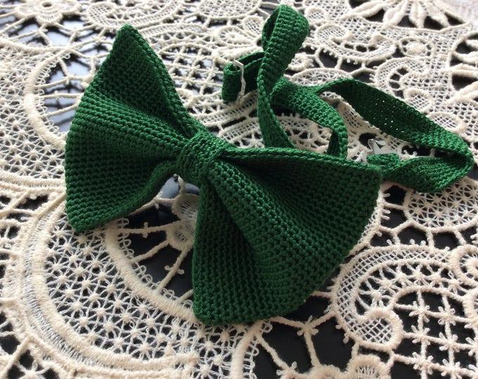 Knit tie, 100% silk, green/bottle Green