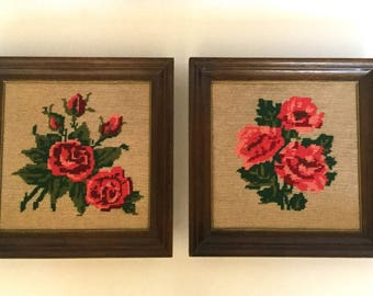 Pair of Vintage Rose Embroidered Needlepoint Pictures