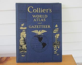 1941 Collier's World Atlas and Gazetteer, vintage Gazetteer, world atlas, pre-war atlas, vintage maps, vintage atlas, historical maps