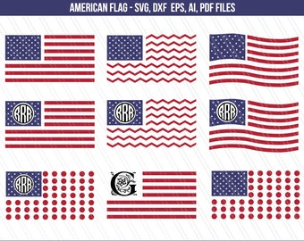 American Flag Svg, USA Flag svg, United States svg, Patriotic flag monogram frame svg, dxf, 4th of July svg - Instant digital download