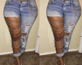 Light Blue Plain Hollow-out Pockets Chain Buttons Long Jeans