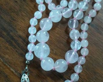 """22"""" / Pink Stone Beaded Necklace / Silver Clasp /Very Pretty / Nice Weight"""