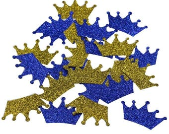 Royal Blue and Gold Glitter Crown Confetti Birthday Decor Diy Party Favor 1 4/5 Inch Pack of 200