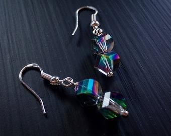 "Earrings ""Mirror"" silver 925 crystal glass beads"