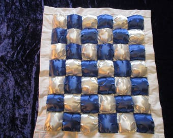 Handmade Puff Cot Quilt Satin Blue/White Chequered pattern