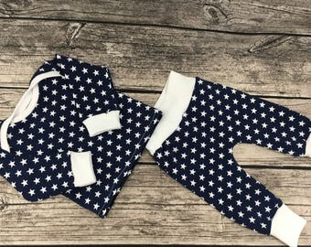 First set 'Stars' Gr. 56 jeans-blue/white coming home set baby newborn