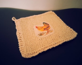 Hen Washcloth with Hook for Hanging - 100% Cotton