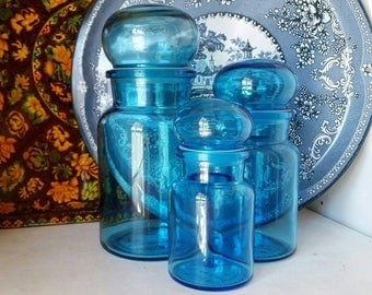 Perfect Set of Blue Glass Apothecary Jars - Made in Belgium