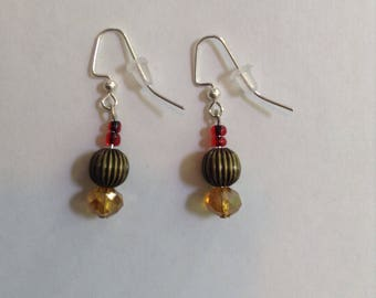 Bronze, yellow, and red beaded earrings