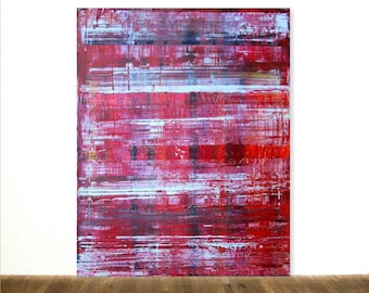 """Blue Red White Large Abstract Acrylic Painting Hand Painted After Richter Original Minimalism Art 32""""x40"""""""