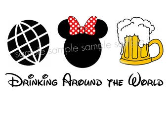 Epcot Drinking Around the World Iron On Disney Transfer - Minnie Mouse Disney World shirt tshirt printable - Beer - Instant Download