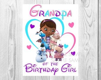 Doc McStuffins Birthday Iron On Shirt Transfer - Disney tshirt or clip art printable - Instant Download - Grandpa of the Birthday Girl