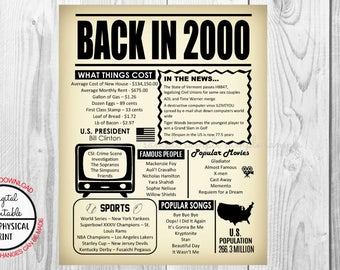 18 Years Ago Back in 2000, 18th Birthday Poster Sign, Back in 2000 Newspaper Style Poster, Printable, Instant Download, 18 years ago facts