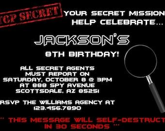 Spy Invitation, Secret Agent Detective Birthday Party Invitation, Birthday Party Invite, Printable, Customized, Baby Shower Invitation