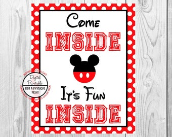 "Come Inside It's Fun Inside Sign, Mickey Mouse Birthday Party Sign, 8""x10"" Printable, Instant Download"