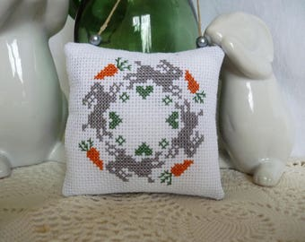 Easter pillow - door embroidery cushion round rabbit - easter cushion - cross stitch cushion cross stitch