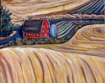 "Original Oil painting, Rolling field- Canada landscape, 32x24"", 1803155"