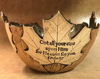 Medium Scripture Maple Leaf Bowl 108