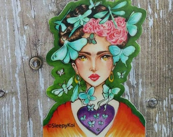 ButterFrida 3 Inch Weatherproof Vinyl Sticker / Decal inspired by Frida Kahlo, Planner Accessories Stationery journal back to school
