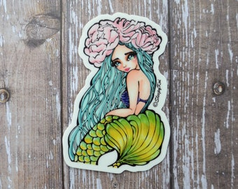 Floral Mermaid 3 Inch Die Cut Vinyl Sticker - Decal for Planner, Bullet Journal, Traveller's Notebook, Stationery, Christmas Gift, Halloween