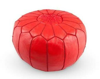 traditional leather Ottoman pouf, Luxury Red floor pouf,  Red Ottoman pouf, leather crafte Duffle pouf, Colorful Moroccan Pouf (unstuffed)