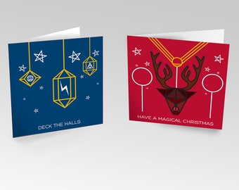 Magical Recycled Christmas Cards - Inspired by Harry Potter. Sustainable, Ethical & Charitable. 6 cards, 3 of each design.