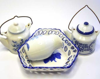 Blue and White Pottery Collection Vintage