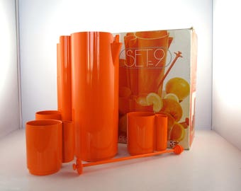 Set 9 french lemonade service in his box Design JP Vitrac years 1970 - Made in France