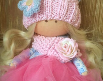 Rosy. Handmade doll, Interior Fabric Doll, Textile doll, Tilda OOAK
