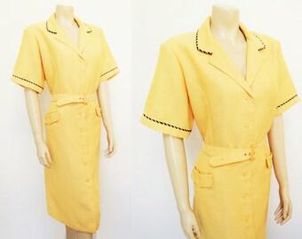 Vintage Dress, UK20, Curvy Girl, Plus Size Dress, Midi Dress, Secretary Dress, Workwear, Yellow Dress, Shirt Dress, La La Land Dress