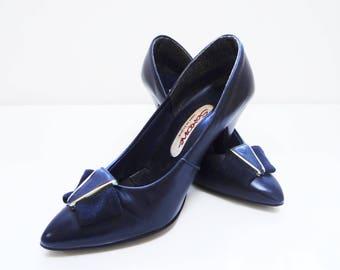 UK2, Vintage Ladies Shoes, 1980s, US4, EU35, Navy Heels, Vintage Footwear, Boho Shoes