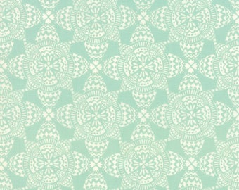 By The HALF YARD - North Woods by Kate Spain for Moda, Pattern #27246-13 Crystal Icicle, Cream Medallion Ornaments on Mint Green