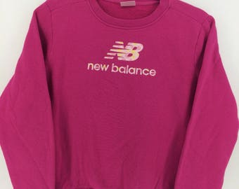 Vintage 90's New Balance Pink Sport Classic Design Skate Sweat Shirt Sweater Varsity Jacket Size M #A784