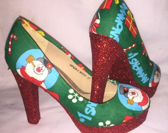 Christmas / snowman shoes / heels * * * uk sizes 3-8 * * *