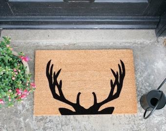 Stag Antlers 60x40cm Doormat - Handmade in UK