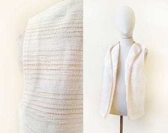 60s/70s white + tan striped open front terry cloth vest, size medium