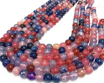 8mm Faceted Agate Beads, Round Gemstone Beads, Wholasela Beads
