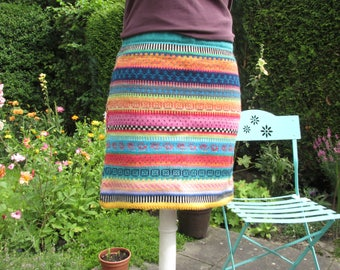 Colorful knit skirt greeny size S