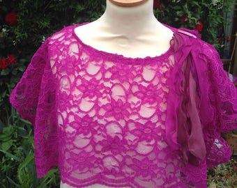 Bolero-shawl-wrap-shoulders gorgeous pink lace