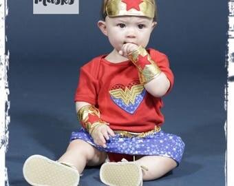 Baby Infant Wonder Woman Costume Wonder Woman Headband Wonder Woman Arm Cuffs Wonder Woman Onesie Wonder Woman Skirt Halloween Costume