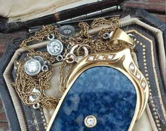 18k Gold Diamond Lapis Lazuli Pendant Unique One Of A Kind