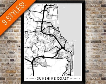 Every Road in the Sunshine Coast map art   Printable Australia map print, Sunshine Coast print, Sunshine Coast poster, Queensland map