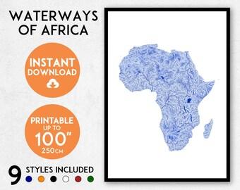 Africa map print, Printable Africa map art, Africa print, Africa art, Africa poster, Africa wall art print, Africa gift, Map of Africa