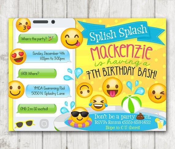 printable emoji pool party party invitation swim party emoji invitations emoji birthday invitation emoji swimming birthday invitations - Swimming Party Invitations